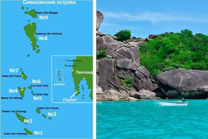 Карта Симиланских островов