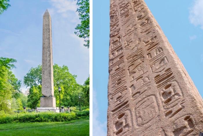 """Египетский обелиск """"Игла Клеопатры"""" в Нью-Йорке, Централ парк."""