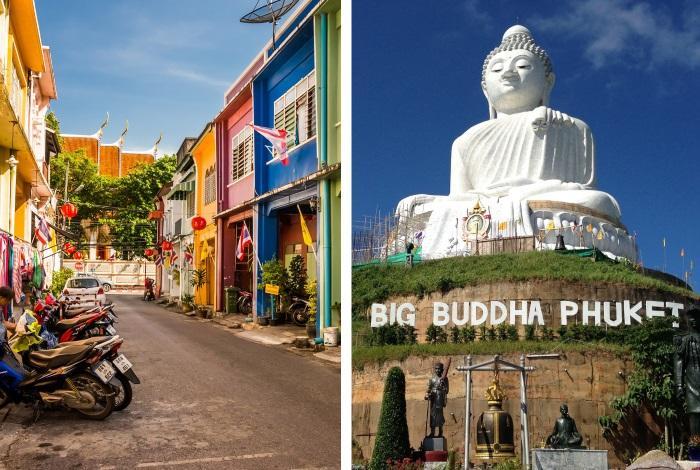 Пхукет-таун (Old Phuket town) и статуя большого Будды на горе Naka Kerd Mountain