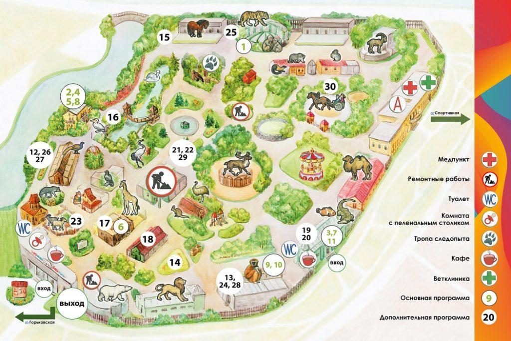 Карта зоопарка в Санкт-Петербурге