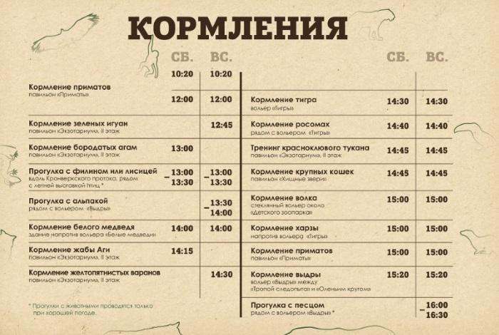 Расписание кормлений животных в Ленинградском зоопарке