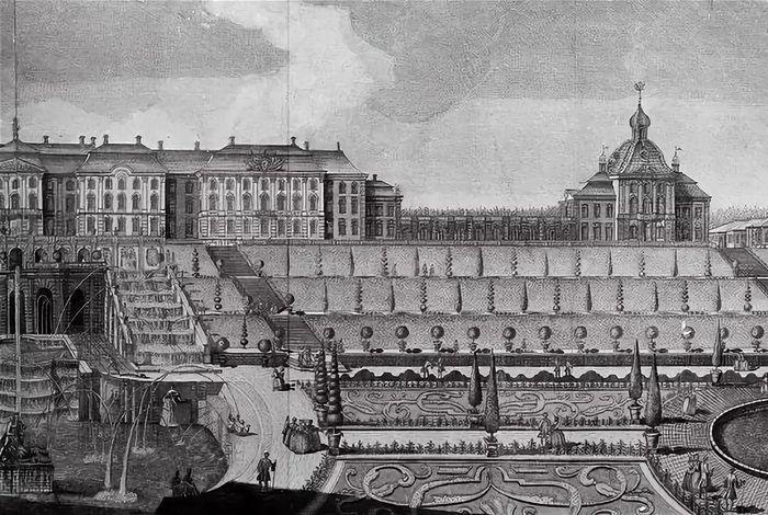 Вид Большого дворца в Петергофе с гравюры XVIII века